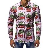MRULIC Herrenhemd Herbst Lange Ärmel Schmal Geschnittenes Shirt für Partyfest Formeller Anzug mit Mehreren Mustern(F-Rosa,EU-52/CN-3XL)