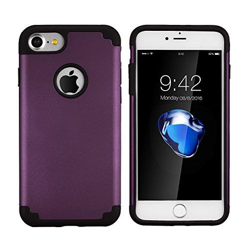 Coque iphone 8 & iPhone 7,coque 2 en 1 Bumper [Dual Layer] en PC et TPU silicone [Hybrid Defender] Etuis Housse Extreme Protection pour iphone 8 & iPhone 7 (4.7 Inch)(Blanc+Gris) voilet noir
