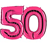 Ballon Zahl 50 in Pink - XXL Riesenzahl 100cm - zum 50. Geburtstag - Party Geschenk Dekoration Folienballon Luftballon Happy Birthday Rosa - PARTYMARTY GMBH