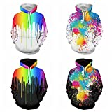 Clothing : Comeon Unisex 3D Colourful Hoodie Printing Drawstring Sports Couple Hoodies Lightweight Pullover Hoody Sweatshirt With Big Pockets For Men and Women