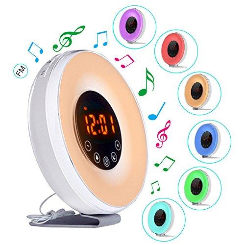 Lichtwecker Wake up Licht Sunrise Alarm Clock mit 7 Farben LED-Leuchten, 6 Alarm-Sounds, FM-Radio LED Nachttischlampe Naturklängen an die für Tiefschläfer