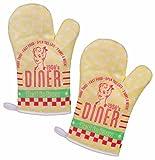 2er Set Topfhandschuhe / Grillhandschuhe / Backhandschuhe Ofenhandschuhe / Kochhandschuhe / Küchenhandschuhe mit Retro / Vintage Druck Diner