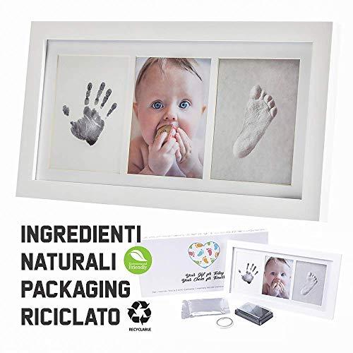 Cornice impronte neonato | kit impronta mani e piedi con stampo e portafoto | eco-friendly baby art family touch | regalo mamma, battesimo bambino, decorazioni nascita, cameretta completa