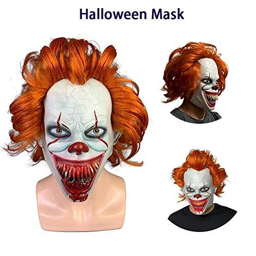 Alte Scary Kostüm - TUANMEIFADONGJI Erwachsene Horror Maske Latex Scary Clown Maske Alter Mann Maske Mit Haar Atmungsaktivem Halloween Maske Für Cosplay Kostüm Karneval Party Dekoration Requisiten