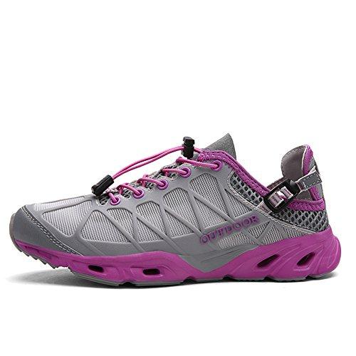 Gomnear Hommes et femmes Chaussures respirantes Poids léger Engrener De plein air Été Randonnée Navigation de plaisance Chaussures deau Gris rose