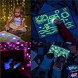 Giocattolo da tavolo Doodle con disegno leggero, Blocco da disegno leggero, Tavolo da disegno luminescente Glow in Dark Giocattolo per bambini con 3 penne - Giocattolo divertente e in via di sviluppo