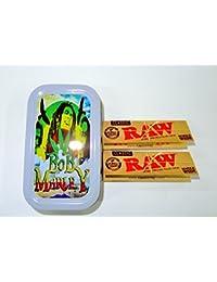 1oz Bob Marley (Color Gris), diseño Tabaco/Bolsillo/Stash lata + 2Raw Classic Single Wide folletos Combo se vende por Trendz