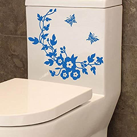 Kingko® Toilet Flower Butterfly Patterns Stickers Removable Decal Home Decor DIY Art Decoration (Blue)