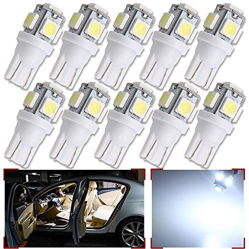 GLL 10pcs Blanc Super Lumineux T10 194 168 W5W 501 LED Ampoules avec 5-5050-SMD Pour Voiture Intérieur Dôme Carte Porte Tronc Tableau de Courtoisie Lumières de Plaque D'immatriculation(DC 12V)