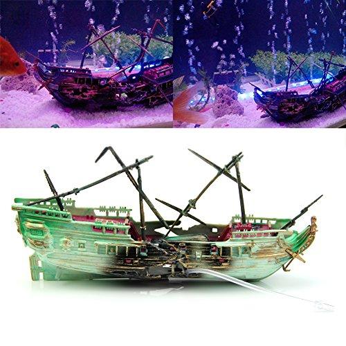 ECMQS Aquarium Ornament Wrack Boot Versenkt Schiff Luft Split Shipwreck Aquarium Cave Decor