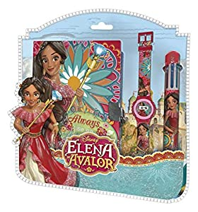 ELENA DE AVALOR- Set Reloj Digital + boligrafo 6 Colores + Diario (WD17959),, 25 x 26 cm (Kids Licensing 1)