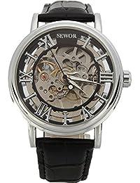 Sewor C849 - Reloj analógico mecánico para hombre, color plateado, diseño de estilo Steampunk, correa de piel de color negro