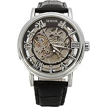 SEWOR - Reloj de Pulsera mecánico Transparente esqueletizado para Hombre, con Correa Estilo Vintage