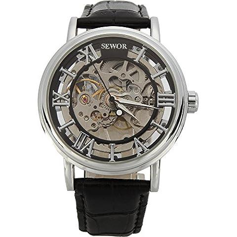 SEWOR - Orologio meccanico da uomo, analogico, colore: argento, cinturino in pelle nera, C849