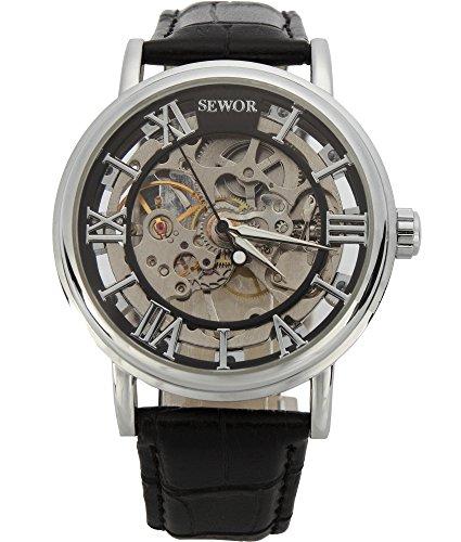 SEWOR Men's Mechanical Hand-Wind Skeleton Transparent Wrist Watch with Vintage Style (Black)