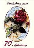 Einladungskarten 70. Geburtstag Mann Frau mit Innentext Motiv rote Rose 10 Klappkarten DIN A6 im Hochformat mit weißen Umschlägen im Set Geburtstagskarten Einladung 70 Geburtstag Frau Mann K110
