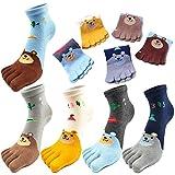 REKYO 5 Paar Zehen Socken Baumwolle Kinder fünf Finger Socken niedlichen Cartoon Tiermuster Socken für jungen Mädchen 3-12 Jahre (Bär, 7-12 Jahre)