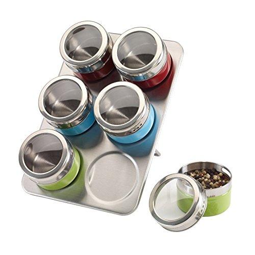 7-tlg. Gewürzständer magnetisch Gewürz-Regal Edelstahl Magnetständer 6 Dosen