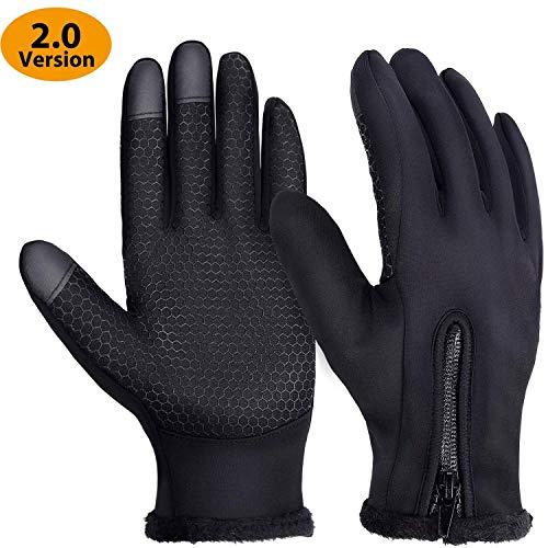 Yokamira guanti invernali antivento termici impermeabili per uomo e donna, guanti da caldi esterni sportivi con touch screen per sci, snowboard, moto, bici, alpinismo, trekking - l
