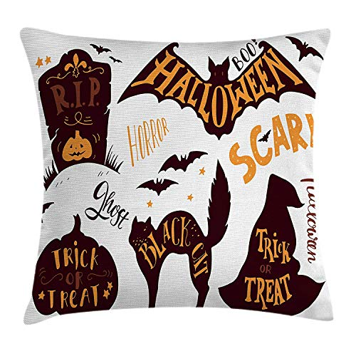 (WYICPLO Vintage Halloween Throw Pillow Cushion Cover, Halloween Symbols Trick or Treat Bat Tombstone Ghost Candy Scary, Decorative Square Accent Pillow Case, 18 X 18 inches, Dark Brown Orange)