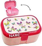 alles-meine.de GmbH Lunchbox / Brotdose -  Schmetterlinge & Blumen  - Incl. Name - mit Extra Ein..