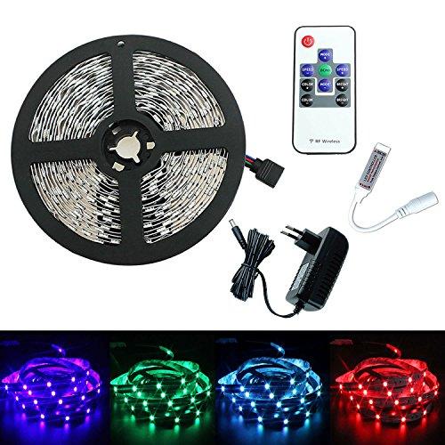 PMS Tira de Luz 5m RGB LED 5050 SMD 150 LEDs Strip + RF remoto controlador + DC 12V Adaptado EU