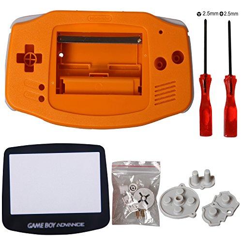 GBA Screen, eJiasu pièces de rechange logement de logement Shell accessoires écran protecteur d'objectif partie de réparation couverture pour Nintendo Gameboy Advance GBA (1PC GBA Shell Orange avec lentille et tournevis)