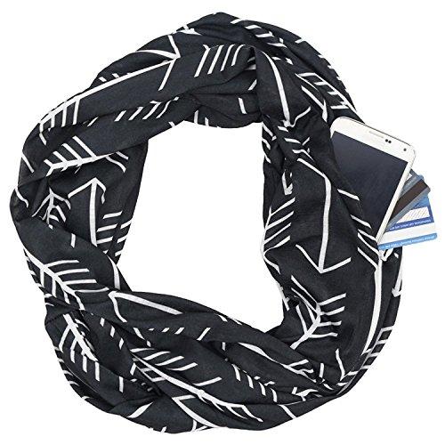 Infinity Schal Wrap Personalisierte Krawatte Loop Shawl - ECOINWAY Mode Frauen Pfeil Muster Tasche T Shirt Schal Poncho mit weißen Reißverschluss Tasche Infinity Schals (Infinity Tshirt Schals)