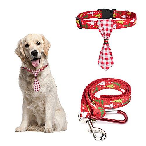 Hund Kragen Weihnachten (Weihnachten Hund Halsband und Leine Set Einstellbare Länge Kragen mit Krawatte Freihandleinen Hund Krawatte Kragen für Klein Mittel Groß Hunde Weihnachten Dekoration ROT (Halsband + Leine (L)))