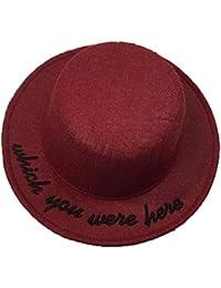 InvocBL - Sombrero de Fedora con Bordado de Letras y ala Ancha para Mujer  Rojo Rojo edd76872ecf