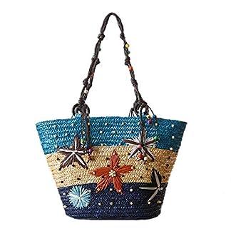 Outflower Bolsa de Paja para Duradero Bolso Bandolera con Bordado de Estrella de Mar Tejida a Mano Bolsas de Bandolera Simple Playa Redonda de Verano Mujer