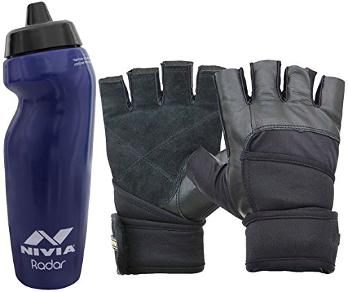 Nivia Extreme Radar Prowrap Gym & Fitness Combo, Large - Navy (1 Pair Nivia Prowrap Gym Gloves Black/Grey, Large + 1 Nivia Radar 600ml Sports Bottle, Navy)  available at amazon for Rs.799