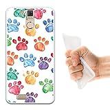 WoowCase Oukitel K6000 Pro Hülle, Handyhülle Silikon für [ Oukitel K6000 Pro ] Hund Fußabdruck Handytasche Handy Cover Case Schutzhülle Flexible TPU - Transparent