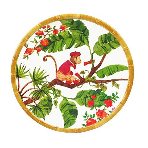 Les jardins de la comtesse - piatto piano piccolo da dessert - bordo in bambù - 22 cm - scimmie di bali - corallo rosso/verde - servizi da tavola della collezione di stoviglie infrangibili melartmine