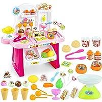 Brand conquer Educational Early Development Pretend Play Mini Supermarket,Cash Register,Shopping Cart Toy Set 34 Pieces (Random Colour)