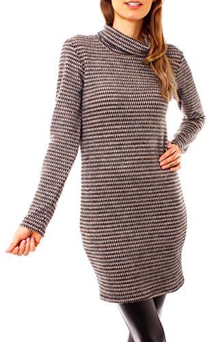 Damen Winter Rollkragen Long Pullover Minikleid Strickkleid Feinstrick Strickfleece Fleece Strick Pulli Gemustert One Size Rosa Schwarz (Strickkleid Gemusterte)