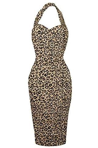 New Ladies Retro 1940's Vintage Halter Neck Party Wiggle Dress Size - 14