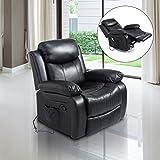 Homcom Fauteuil de Massage et Relaxation électrique Chauffant inclinable pivotant Repose-Pied télécommande Noir Neuf 55