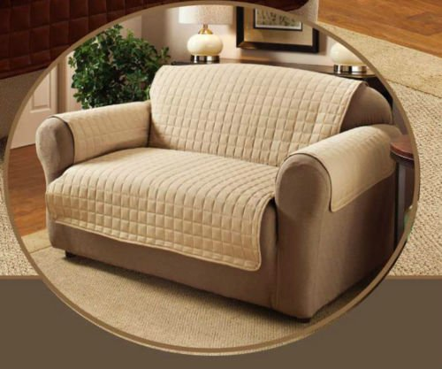 beige two seater water repellent furniture protector for sofasettee