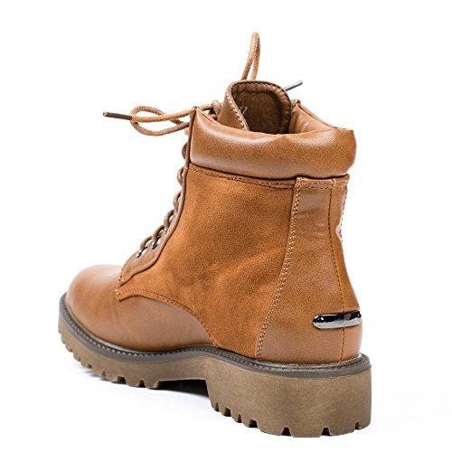 Ideal Shoes - Bottines style randonnée bimatière avec strass Christa Camel