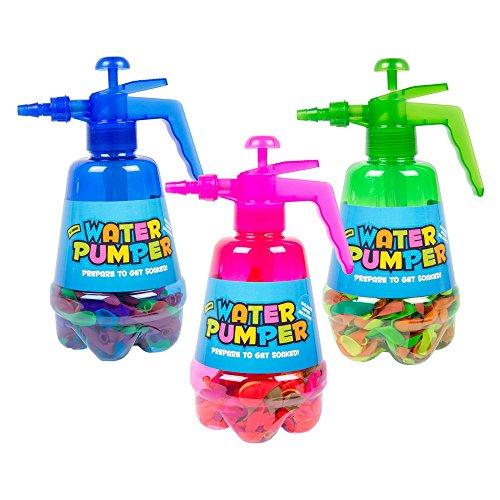 ITP Imports Bomba de globo de aire o agua con 300 globos: color azul o rojo aleatorio