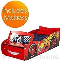 Preisvergleich für Disney Cars Lightning McQueen Feature Kleinkind Bett + Deluxe Matratze
