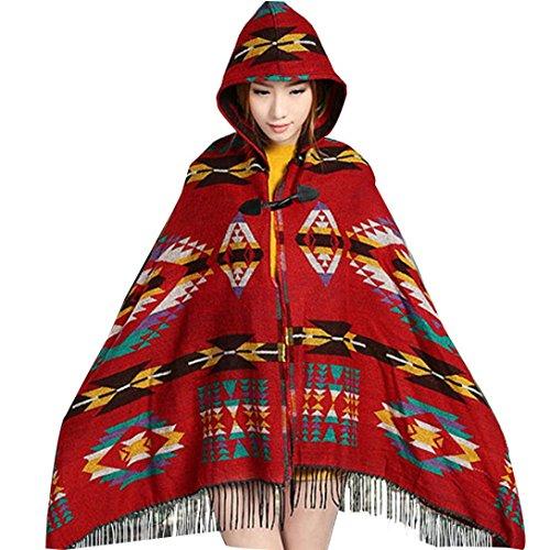 Donne Lady Vintage mantello incappucciato del Capo boemo con frange dello scialle,Familizo (Rosso)