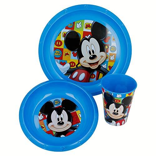 Mouse-19010 Mickey Mouse - Set vaso, plato y cuenco (Stor 19010) (