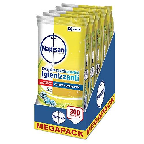 Napisan Salviette Multisuperfici Igienizzanti Potere Sgrassante, Limone e Menta, Mega Pack da 5 Confezioni, 300 Pezzi