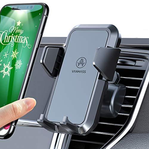 VANMASS Handyhalterung Auto Handyhalter fürs Auto Lüftung Kfz Handy Halterung 2 Upgrade Lüftungsclips umfassend Silikon Schutz Smartphone Handyhalter 360° Drehbar für iPhone Samsung Huawei Mate LG usw