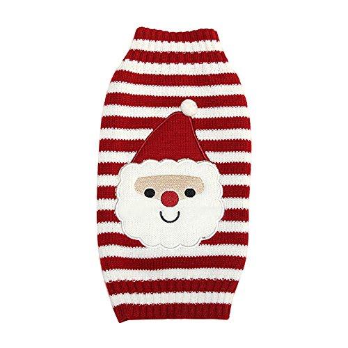 Silvercell Haustier Hund Katze Weihnachten Weihnachtsmann Sweater Strickpullover Outfit Warme (Hunde Outfit Für Weihnachtsmann)