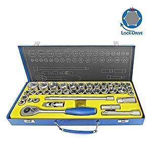 """S&R Set chiave a tubo 39 pz. 1/2 """"strumento profilo BLOCCO DRIVE regolato strumenti 1/2 pollice in metallo, cricchetto qualità industriale box"""