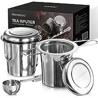 Homemaxs Teesieb Teefilter für losen Tee, 2 Stück 304 Edelstahl Tee Sieb inklusive Deckel/Abtropfschale und 1 Löffel, Premium Teesieben mit Faltbare Griffgestaltung Passend für Teekannen, Bechern, Tee-Tassen