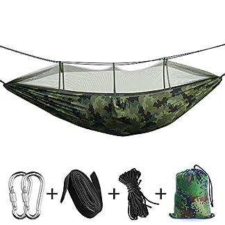 Hamaca portátil para acampar – Hamaca de árbol para exteriores e interior / doble con insecto insecticida, 2 correas colgantes, hamacas ligeras de paracaídas de nylon para mochileros, viajes, playa, patio, caminatas